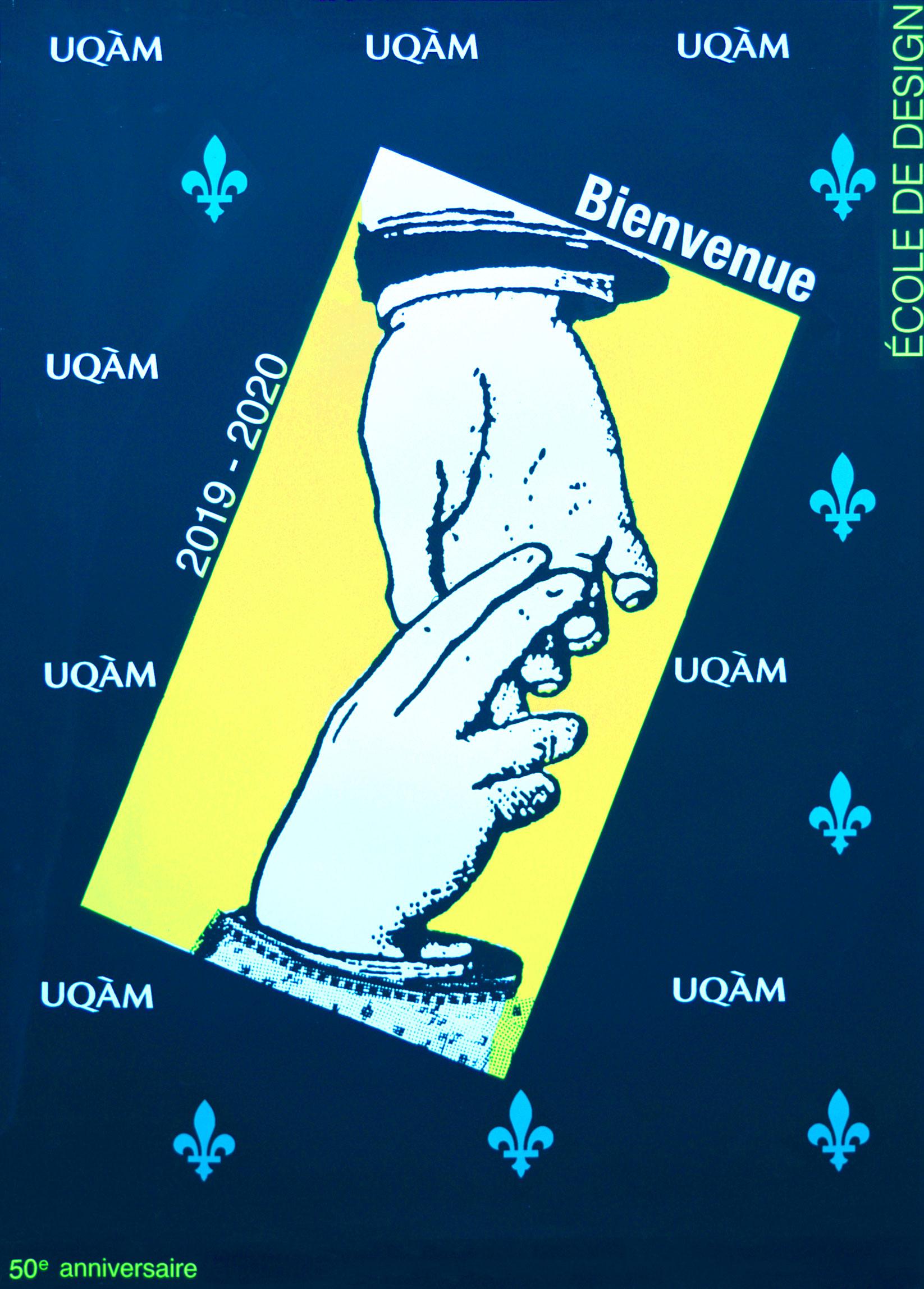 Affiche d'Alfred Halasa pour la rentrée universitaire 2019-2020 à l'École de design de l'UQAM